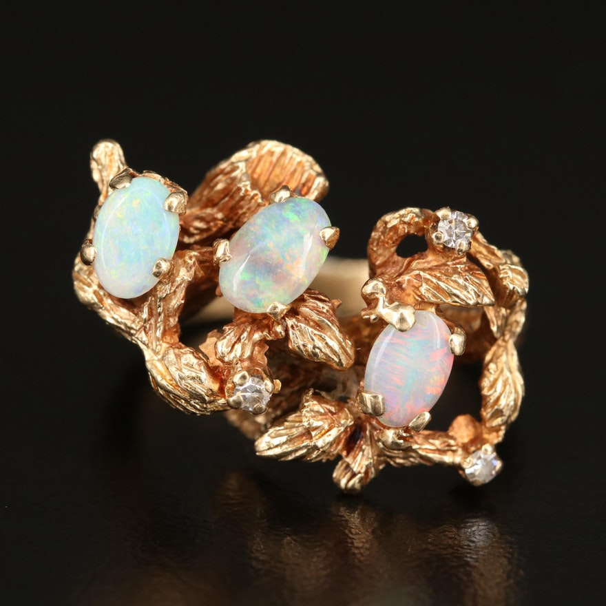 14K Opal and Diamond Foliate Ring