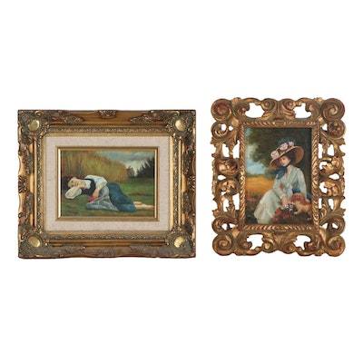 Oil Paintings after Raymond Lynde and William Adolphe Bouguereau
