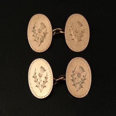Circa 1902 British 9K  Scotish Thistle Cufflinks