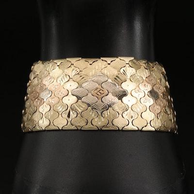 Italian Tri Color 18K Gold Arabesque Engraved Bracelet with Matte Finish