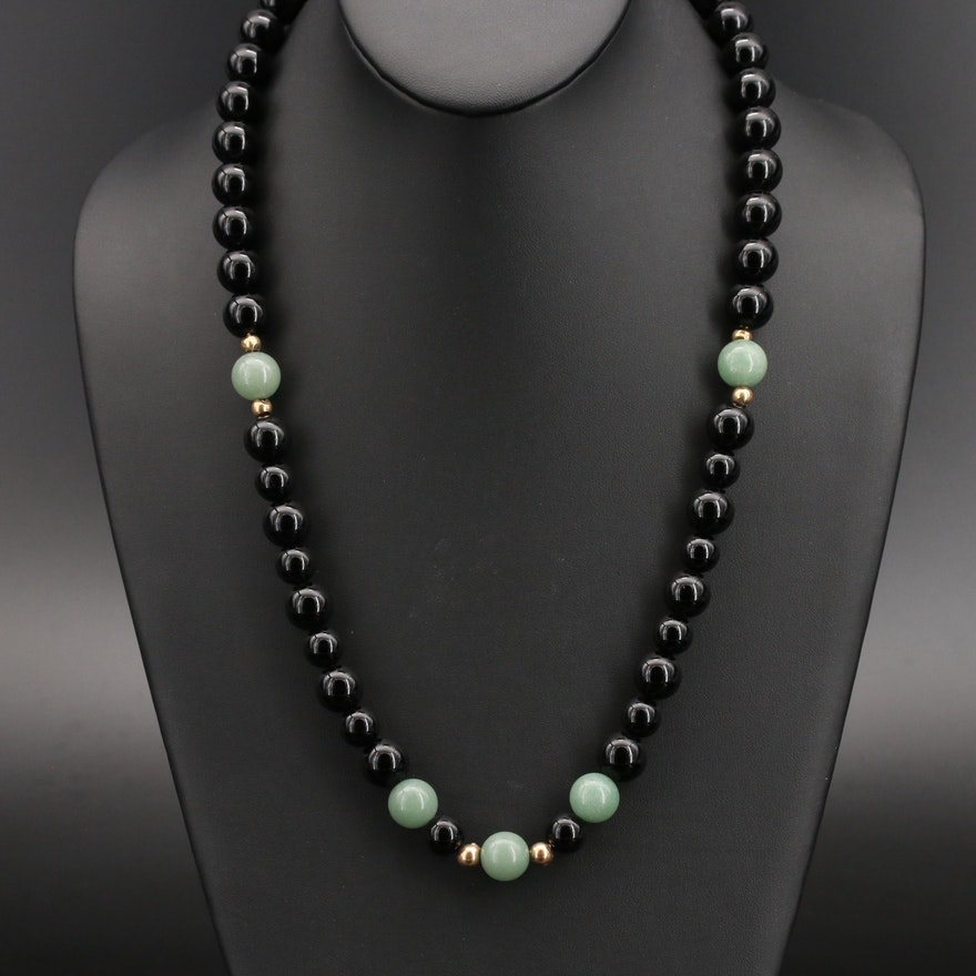 14K Aventurine and Black Onyx Beaded Necklace