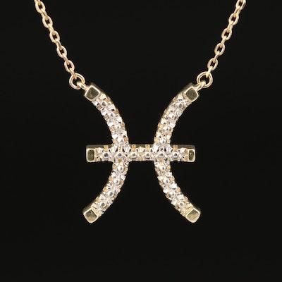 10K Pisces Zodiac Necklace