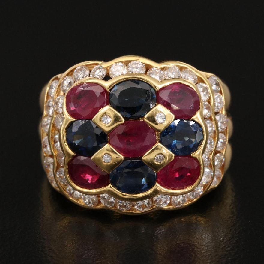 18K Ruby, Sapphire and 1.20 CTW Diamond Ring
