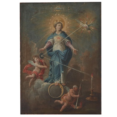 Oil Painting of the Immaculate Conception of Mary, 18th Century