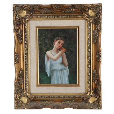 """Oil Painting after William Adolphe Bouguereau """"Earrings,"""" Late 20th Century"""