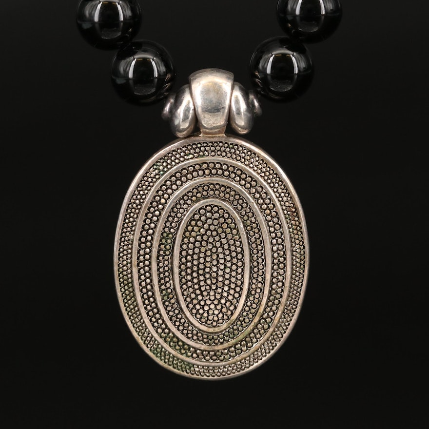 Sterling and Black Onyx Beaded Necklace with Oval Pendant