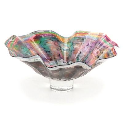 Wimberley Glassworks Handblown Fluted Studio Art Glass Centerpiece Bowl, 1997