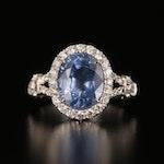 18K 3.73 CT Sapphire and Diamond Ring
