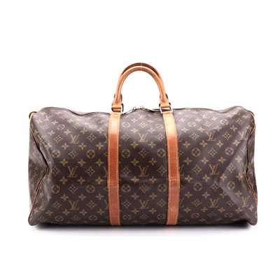 Louis Vuitton Keepall 55 Duffel Bag in Monogram Canvas and Vachetta Leather