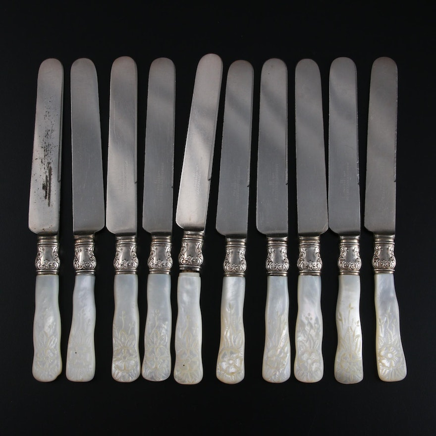 Meriden Cutlery Co. Carved Mother-of-Pearl and Silver Handled Knives