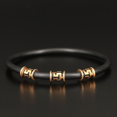Rubber Bangle with 14K Accents