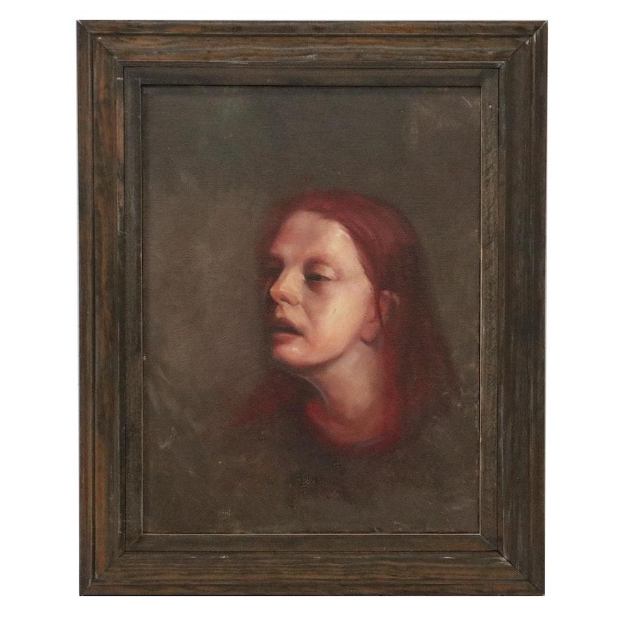 "Bruce Erikson Oil Painting ""Study of Jennifer Sandy,"" 1999"