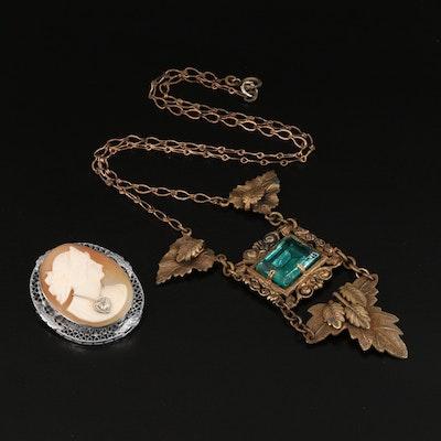 Antique Cameo Habillé Brooch and Lavalier Necklace