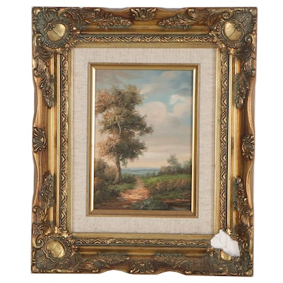 Landscape Oil Painting of Tree and Field, Late 20th Century