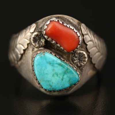 Southwestern Sterling Turquoise and Coral Feather Ring