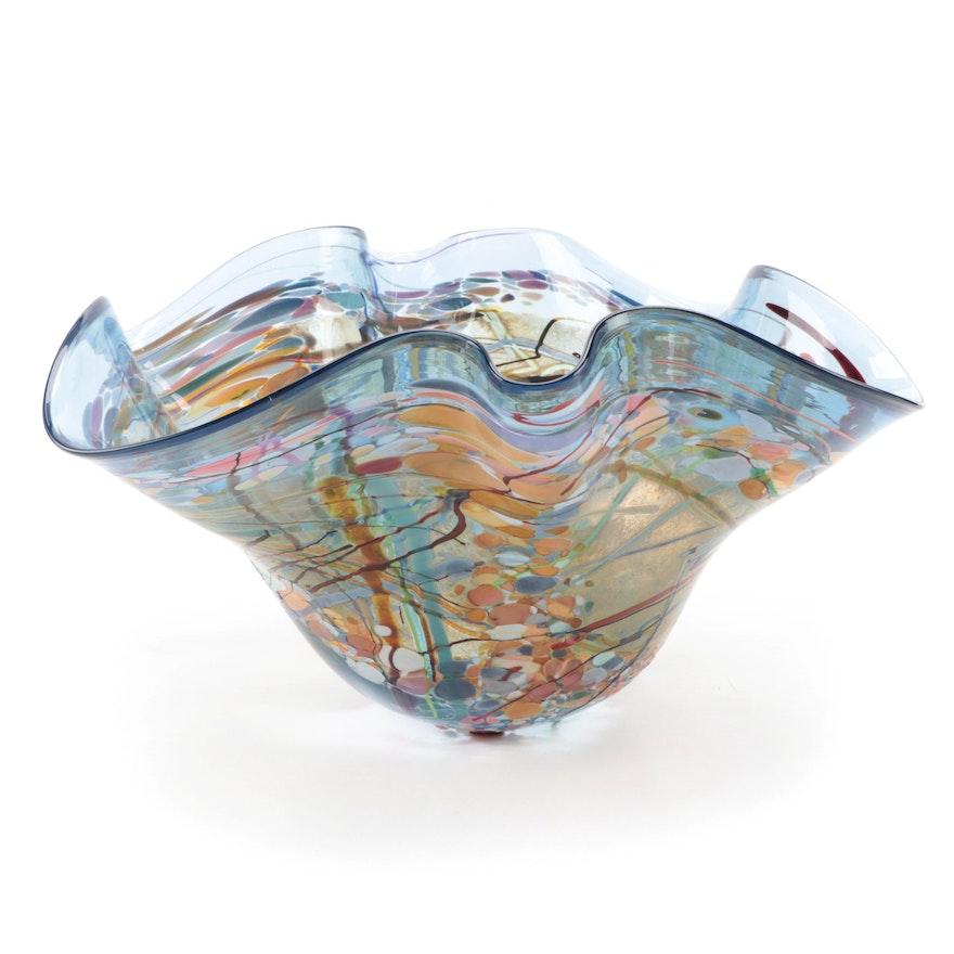 John Gerletti Blown Art Glass Freeform Handkerchief Bowl, 2001