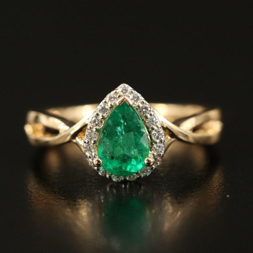 18K Emerald and Diamond Teardrop Halo Ring with Euro Shank