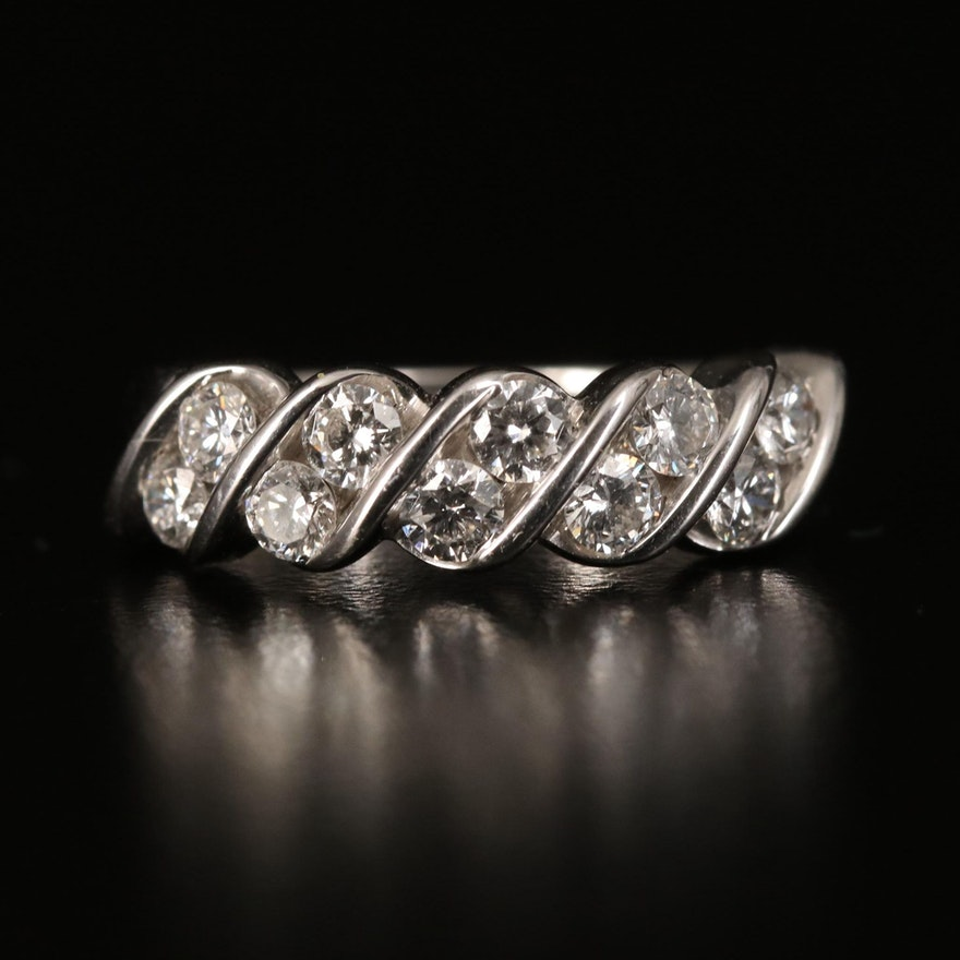 18K Diamond Scalloped Band