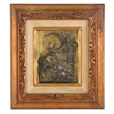 Rococo Courting Scene Metal Bas Relief