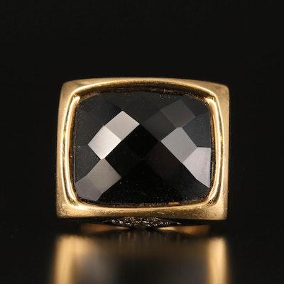 Linda Joslin 18K Black Onyx and Diamond Ring with Euro Shank