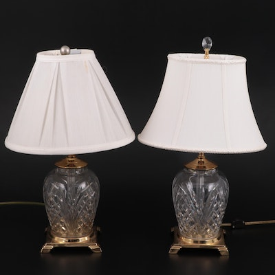 Pair of Waterford Pineapple Crystal and Brass Table Lamps