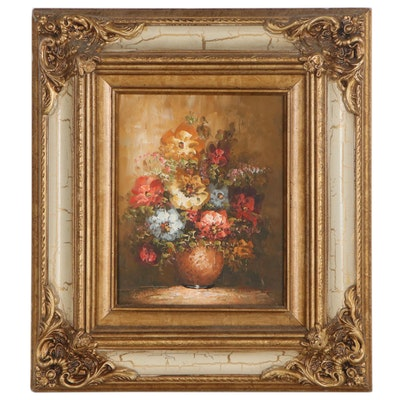 Impasto Oil Painting of Flower Bouquet, circa 2000