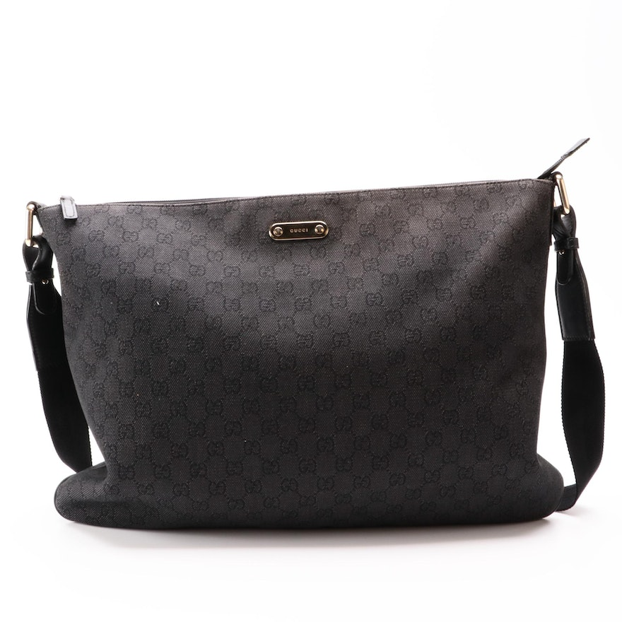 Gucci GG Canvas Messenger Bag with Leather Trim