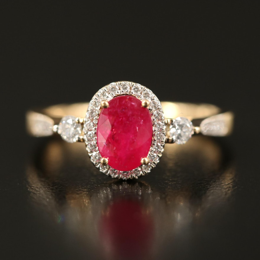 18K Ruby and Diamond Halo Ring