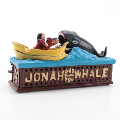 """Reproduction """"Jonah and the Whale"""" Mechanical Cast Iron Bank"""