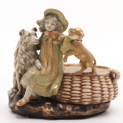 Amphora Figural Group of a Young Lady and Dogs with Basket, Early 20th Century