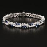 18K 4.97 CTW Diamond and Sapphire Bracelet