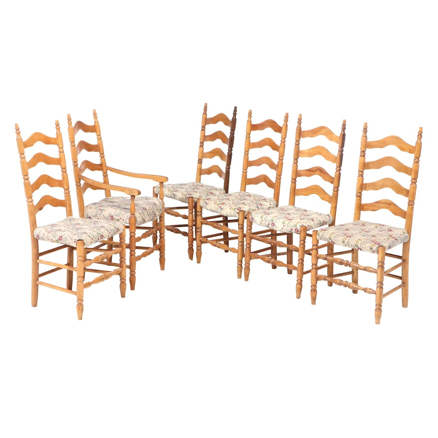 Six Delaware River Valley Style Maple Ladderback Dining Chairs