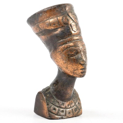 Patinated Metal Bust of Nefertiti, Late 20th to 21st Century