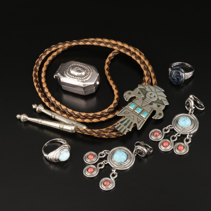 Sterling Turquoise and Glass Jewelry Featuring Bell Trading Co.