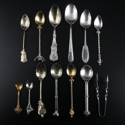 Mechanics Silver Co. Souvenir and Other Spoons and Sterling Sugar Tong