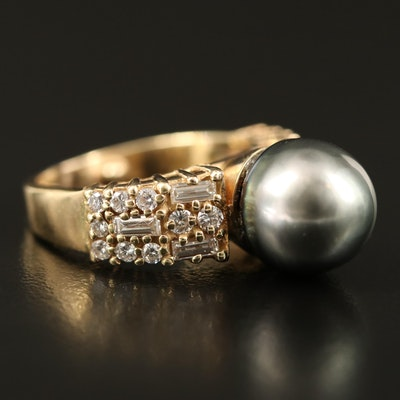 14K Pearl and 1.00 CTW Diamond Ring