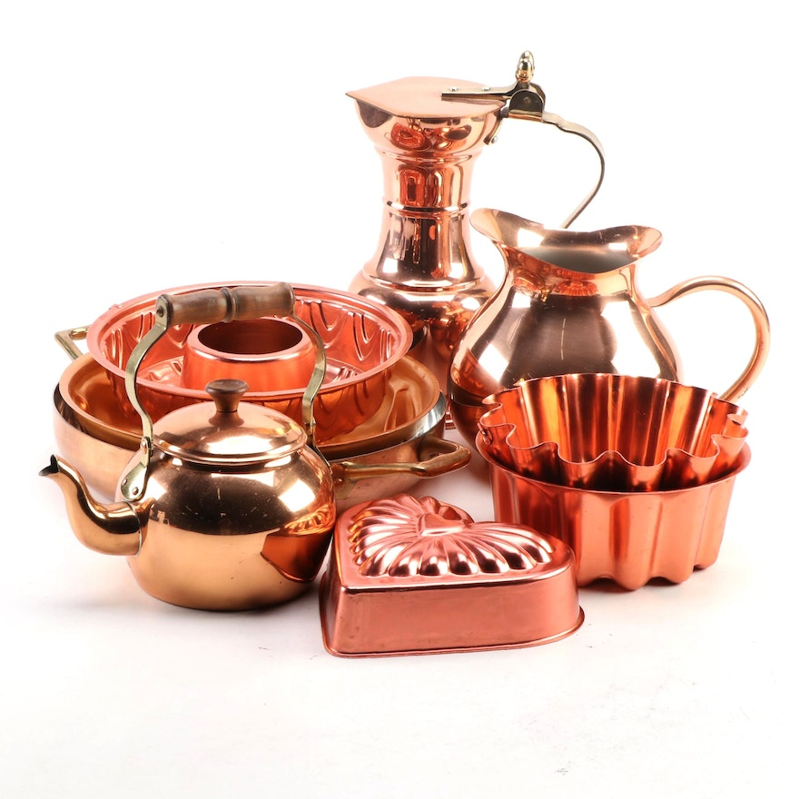 Tagus Copper Pitcher, Egro Carafe, and Other Skillets with Decorative Molds