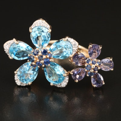 EFFY 14K Topaz, Iolite, Sapphire and Diamond Double Flower Ring