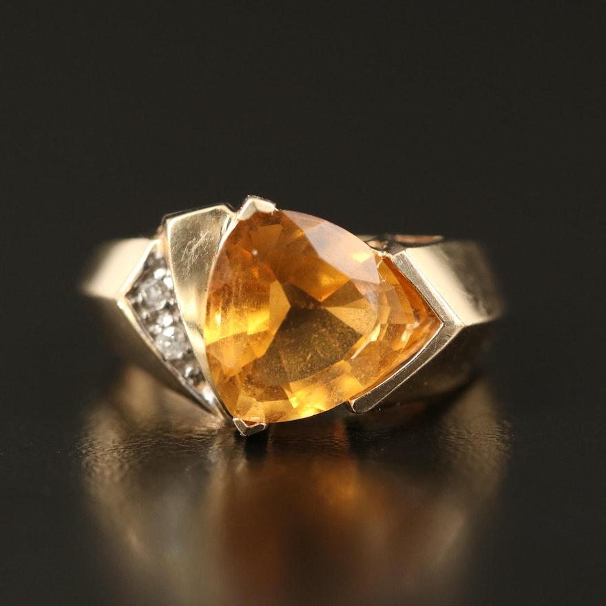 10K Citrine and Diamond Ring
