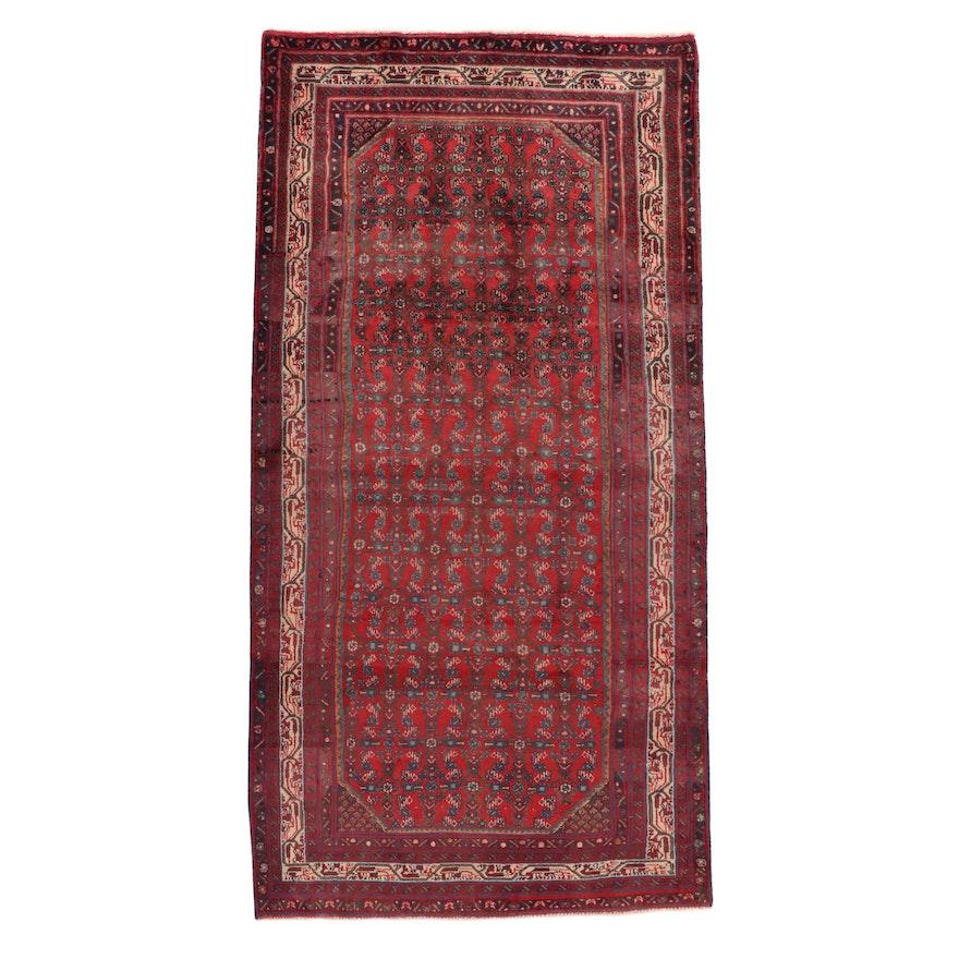 5'1 x 10' Hand-Knotted Persian Zanjan Rug, 1970s