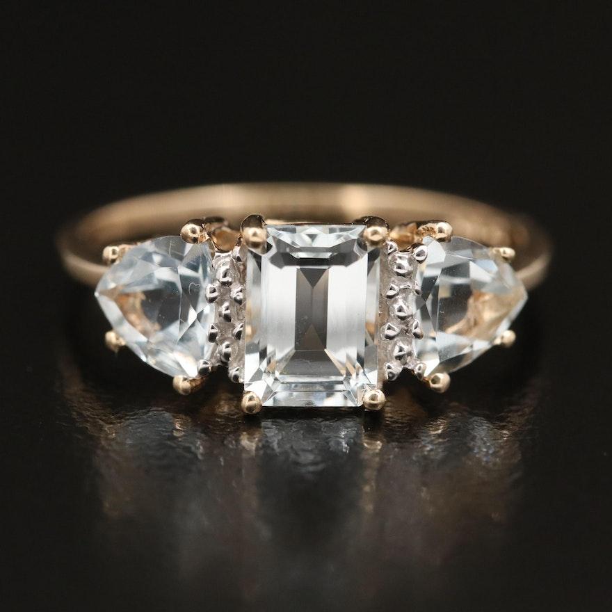 10K Aquamarine Three Stone Ring