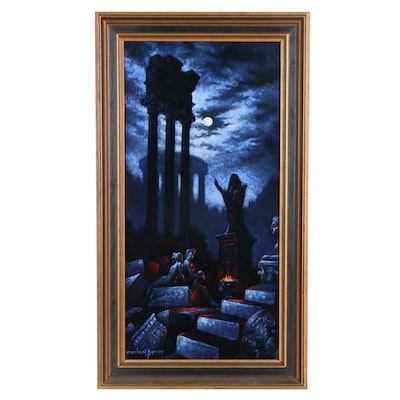 Franklin Moody Nocturne Graveyard Scene Oil Painting, Mid-20th Century