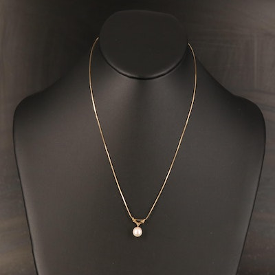 14K Pearl Solitaire Necklace