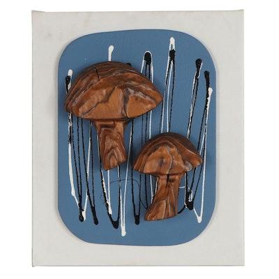 Witco Decor by Pleasant Tiki Mixed Media Mushrooms, circa 1960