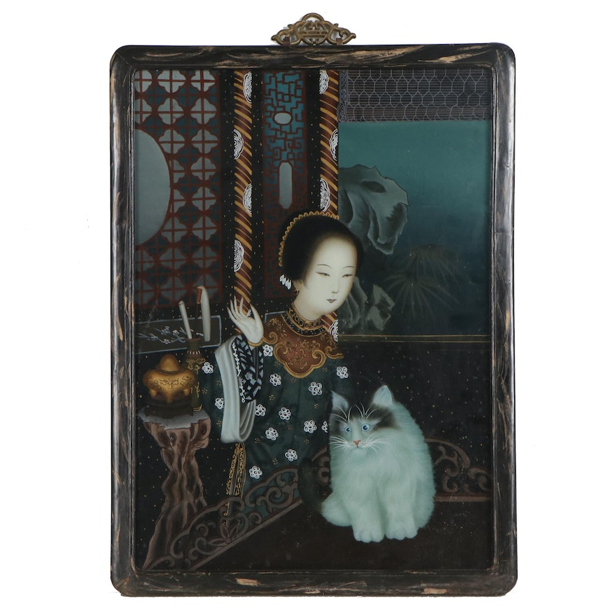 Chinese Reverse Glass Painting of Figure with Cat
