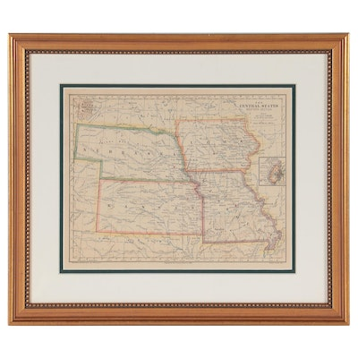 """Wax Engraving Map """"The Central States Western Section,"""" 1883"""