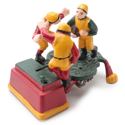 """Reproduction Football """"Three Players"""" Cast Iron Mechanical Bank"""