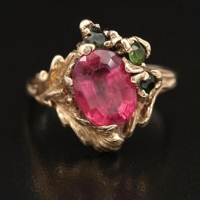 14K 3.87 CT Pink Tourmaline and Tourmaline Foliate Ring