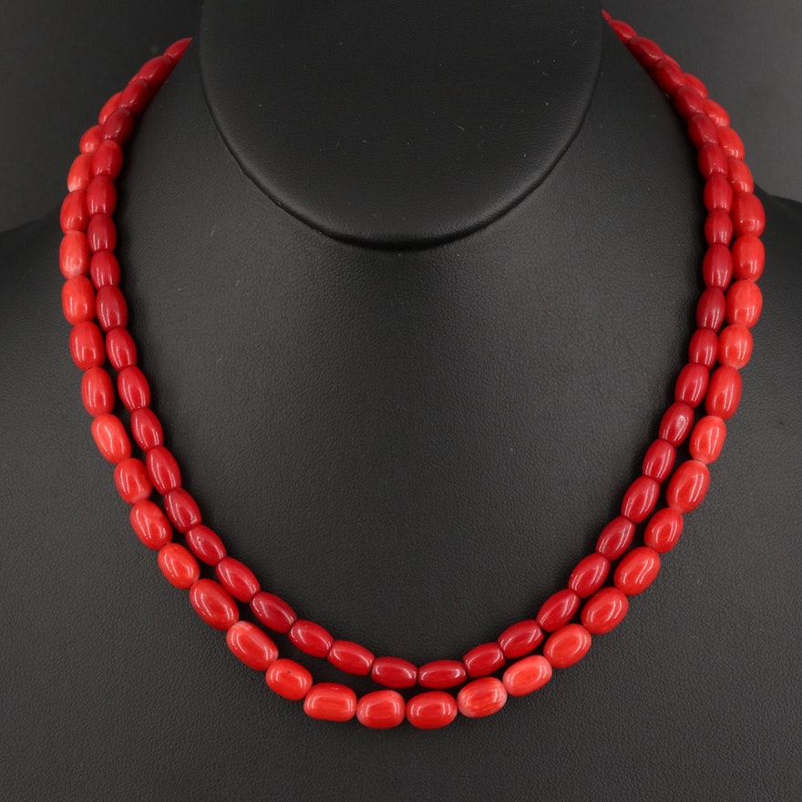 Sterling Coral Double Strand Necklace
