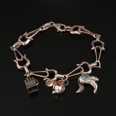 Sterling Charm Bracelet with Faux Turquoise and Enamel Accents
